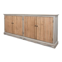 long narrow buffet sideboard chest natural pine distressed light grey finish
