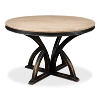 round dining table pine bleached distressed black