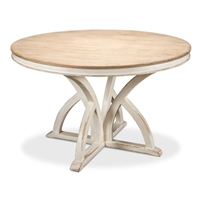 round dining table pine bleached distressed white
