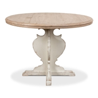 round dining table pedestal natural antique white finish Country French