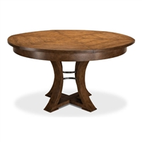 round Jupe dining table contemporary medium brown finish expandable