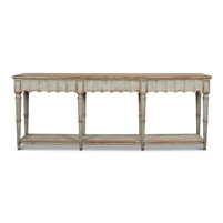console table 8 legs lower shelf scalloped front distressed sage natural top