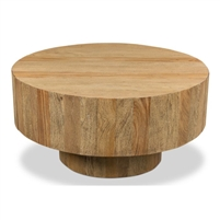 round coffee table two hidden drawers tan wheat finish
