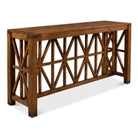 wood fruitwood finish console table mission-style