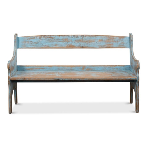 distressed blue reclaimed pine bench