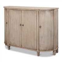 demilune cabinet grey aged finish 4-doors shelves