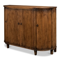 demilune cabinet brown aged finish 4-doors shelves