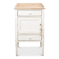 side table antique white distressed natural pine two drawers cabinet turned legs