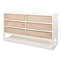 distressed white natural 6-drawer sideboard dresser