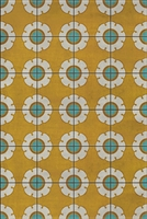 vinyl floor mat flower tile pattern yellow teal