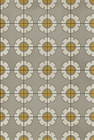 vinyl floor mat flower tile pattern yellow gray