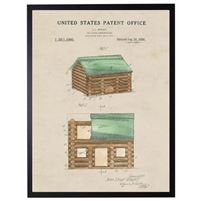 Lincoln logs patent vintage wall art