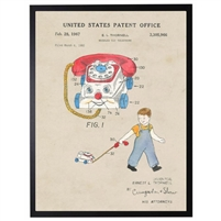 toy phone patent vintage wall art