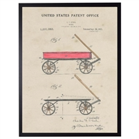 red wagon patent vintage wall art