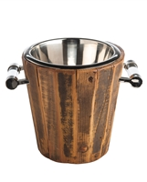 ice bucket reclaimed wood silver glass handles