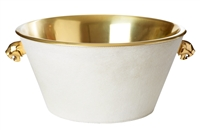 champagne cooler bucket brass white cowhide jaguar handles