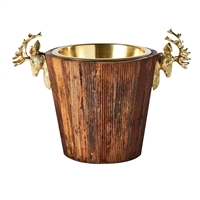wine cooler bucket reclaimed wood brass stag deer handles