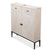 cabinet oak veneer whitewash metal inlay narrow slender textured base removable shelf