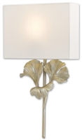 distressed silver leaf body off white square shade wall sconce