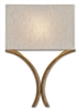 iron gold leaf wall sconce natural linen shade