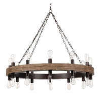 round rustic reclaimed wood round chandelier
