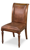 Luxury Designer Jupe Side Chairs - Walnut with Brown Leather (pair)