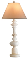 alabaster base cream silk shade table lamp