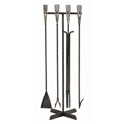 Arteriors fireplace tools set transitional iron rustic craftsmanship old world black silver gray