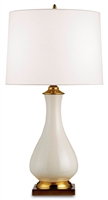 ceramic brass cream crackle off white linen shade table lamp