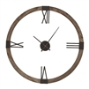 round wall clock floating dial natural stain