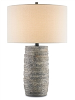 terracotta rustic gray base vanilla linen shade table lamp