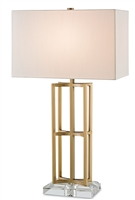 contemporary brass body clear acrylic base off-white square shade table lamp