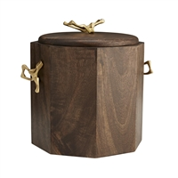 wood ice bucket brass handles