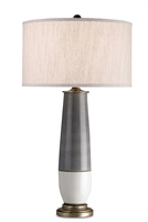 bronze gray white crackle body natural linen shade table lamp