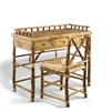 Rattan Small Desk and Chair Set