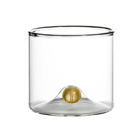 double wall old fashioned glass gold ball base