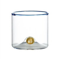 old fashioned glass blue trim set gold ball base