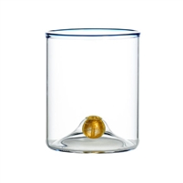 stemless wine glass blue trim gold ball base