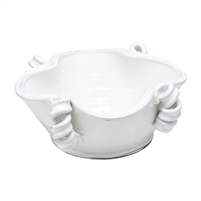 white bowl coiled accents free-form shape
