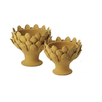 terracotta footed centerpiece artichoke decor