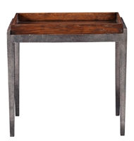 table side accent wood walnut tray pull-out iron steel gray four tapered legs rectangle dark stain