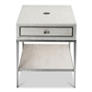 side end table whitewash contemporary one drawer shelf metal