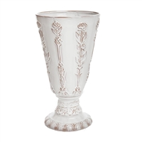 white terracotta vase roses carving