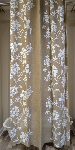 Burlap Floral Vine 72x96 Shower Curtain