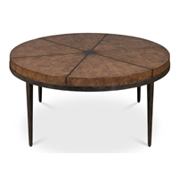 brown veneer iron cocktail table