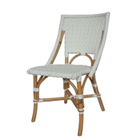white woven rattan bistro dining chair