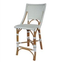 white woven rattan counter stool star pattern