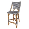 navy white woven rattan counter stool diamond pattern