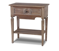 wood side table brown white wash lower shelf drawer