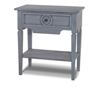 Bramble orleans grey side table with drawer mahogany shelf